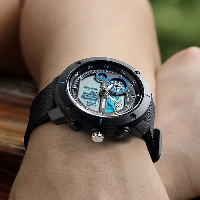 часы SKMEI 1361 чёрные с синим - 3
