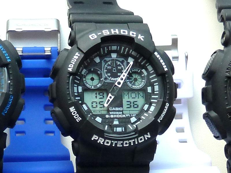 часы  100 черные с белым шрифтом - 1