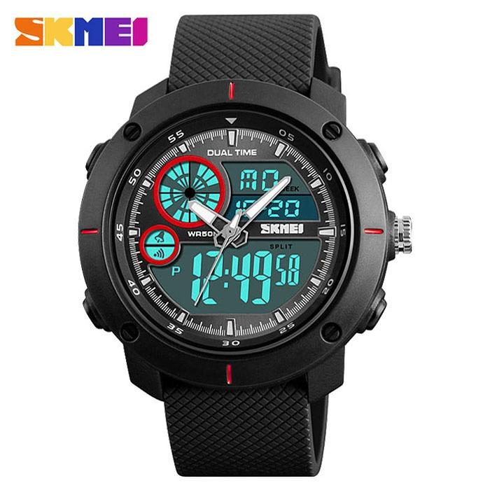 часы SKMEI 1361 чёрные с красным - 2