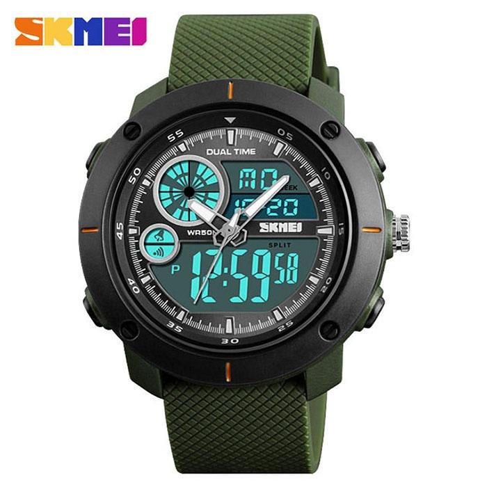 часы SKMEI 1361 чёрные, зелёный ремешок - 1