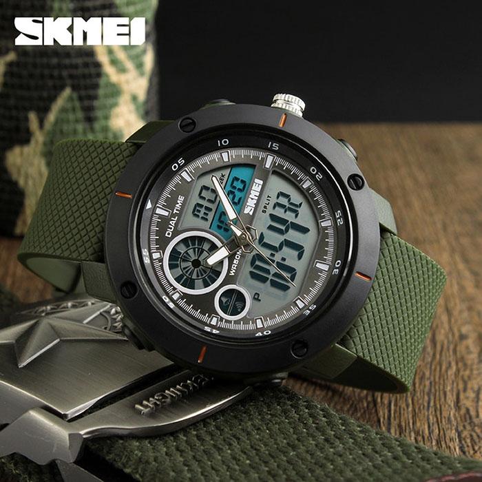 часы SKMEI 1361 чёрные, зелёный ремешок - 2