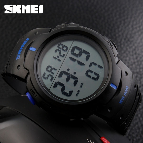 часы SKMEI 1068 чёрные с синим - 3