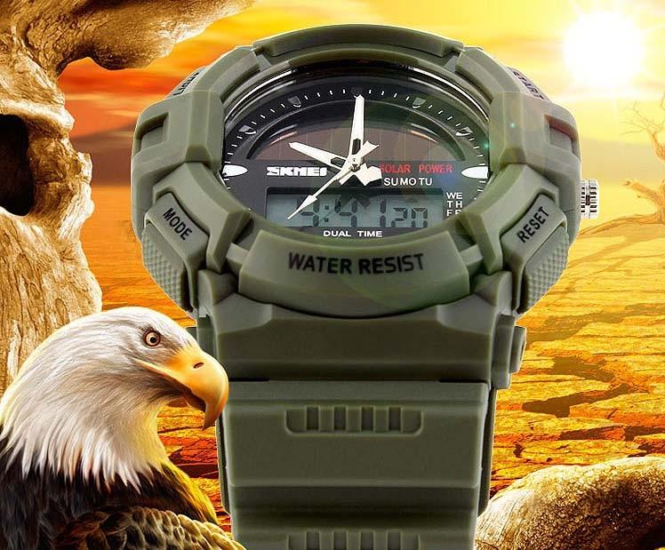 часы SKMEI solar 1050 зелёные (хаки) - 8