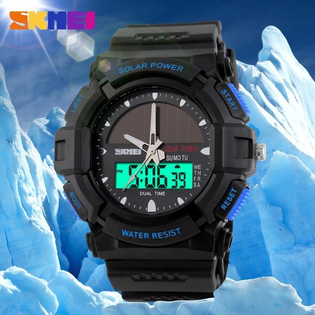часы SKMEI solar 1050 чёрные с синим - 8