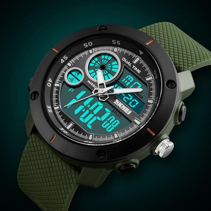 часы SKMEI 1361 чёрные, зелёный ремешок - 3