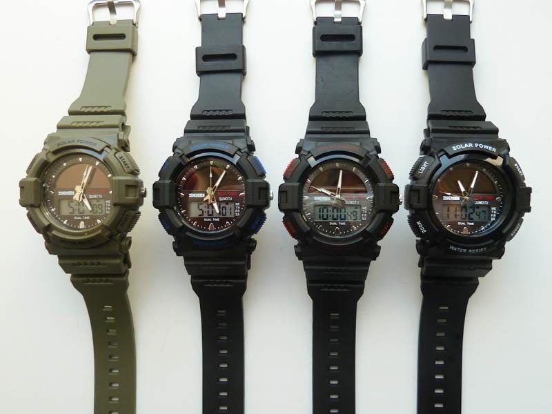 часы SKMEI solar 1050 чёрные с синим - 5