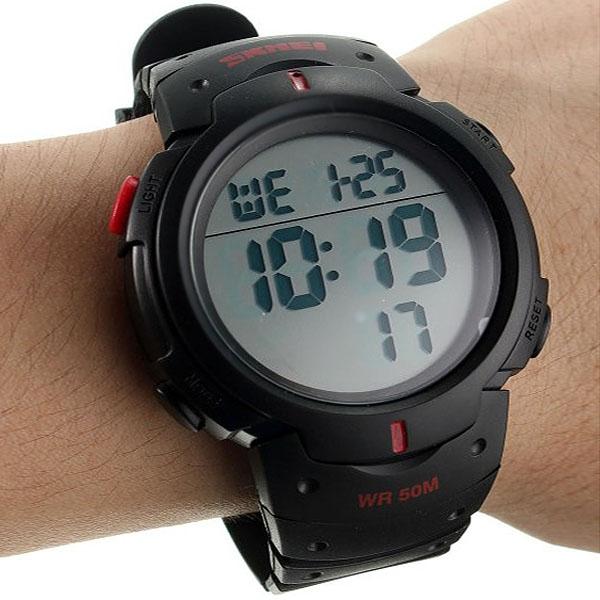 часы SKMEI 1068 чёрные с красным - 3