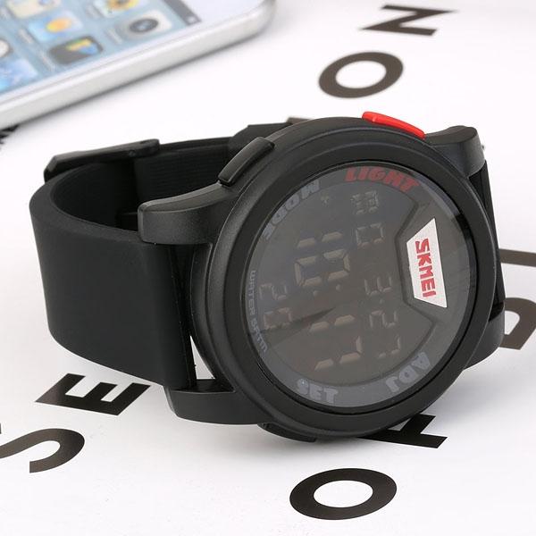 часы SKMEI 1218 Black Red (чёрные с красным) - 5