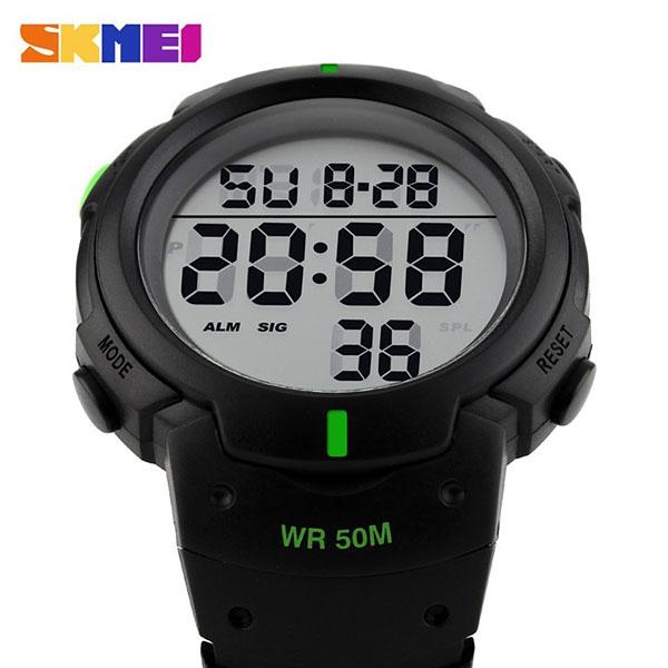 часы SKMEI 1068 чёрные с зелёным - 3