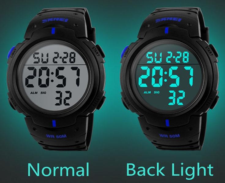 часы SKMEI 1068 чёрные с синим - 2