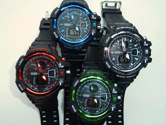 часы 1100 черные с зеленым металликом - 3