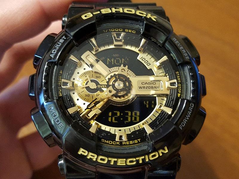 часы 110 ААА чёрные с золотом, глянцевый ремешок  - 3