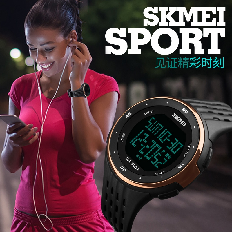 часы SKMEI 1219 ROSE GOLD чёрные с золотом - 3