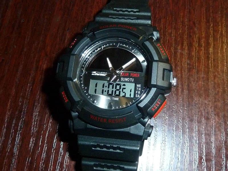 часы SKMEI solar 1050 чёрные с красным - 1
