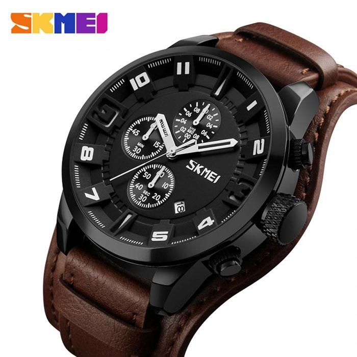 часы SKMEI 9165 white / brown (белый / коричневый) - 1