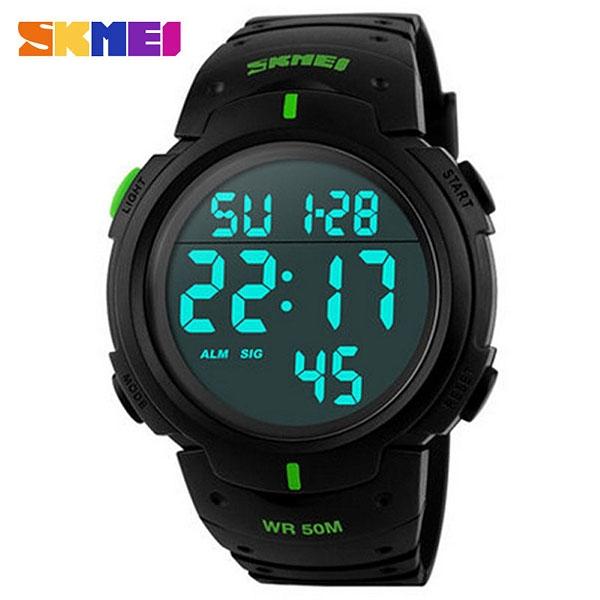 часы SKMEI 1068 чёрные с зелёным - 1