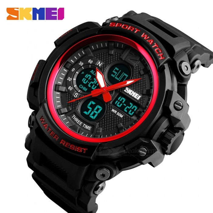 часы SKMEI 1343 чёрные с красным - 3