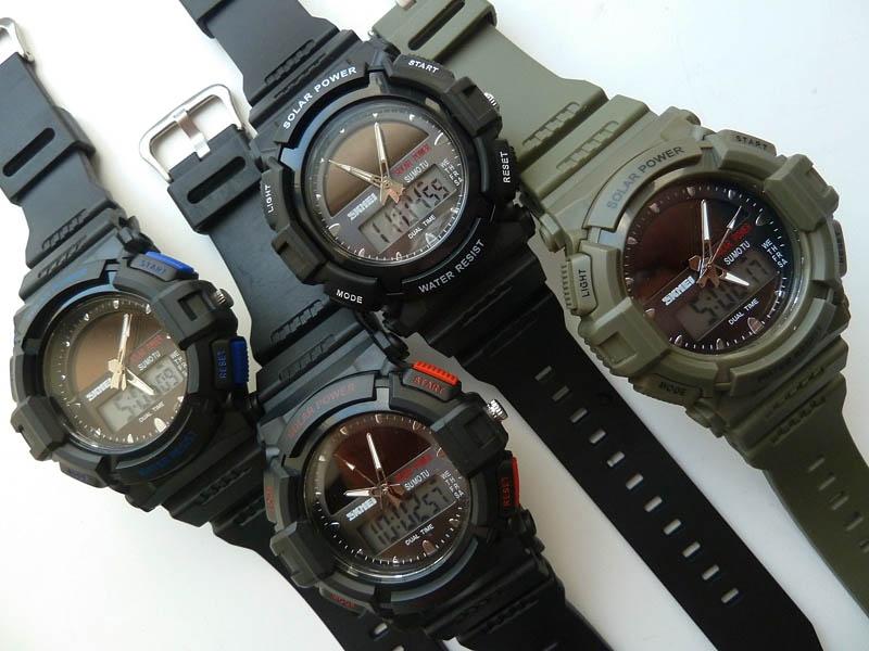 часы SKMEI solar 1050 чёрные с синим - 4