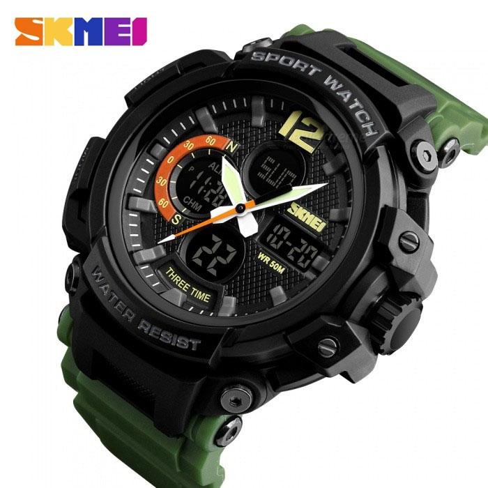 часы SKMEI 1343 чёрные, зелёный ремешок - 2