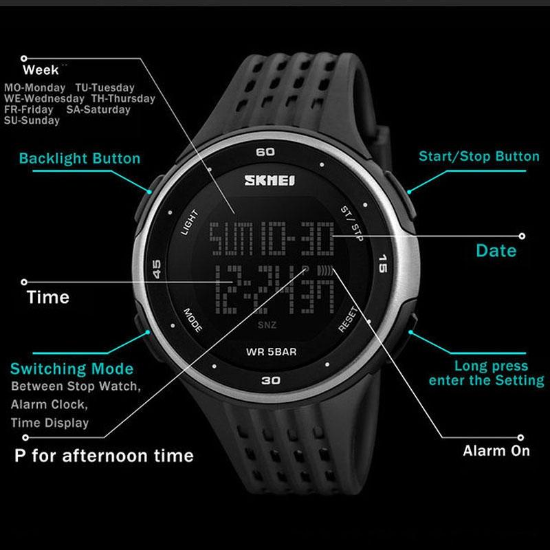 часы SKMEI 1219 SILVER чёрные с серебром - 4