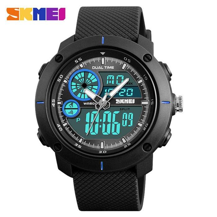 часы SKMEI 1361 чёрные с синим - 1