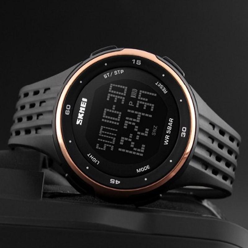 часы SKMEI 1219 ROSE GOLD чёрные с золотом - 2