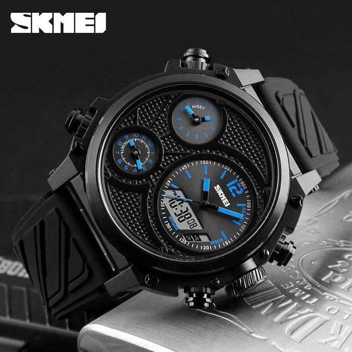 часы SKMEI 1359 чёрные с синим - 3
