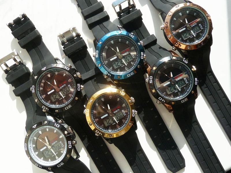 часы SKMEI solar 1064 чёрные/золото - 3