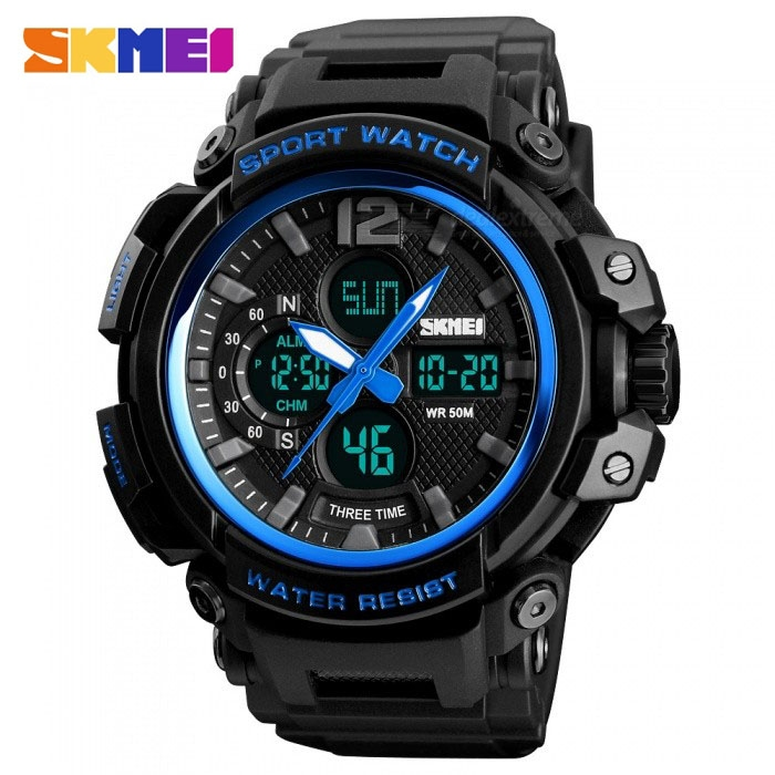 часы SKMEI 1343 чёрные с синим - 1