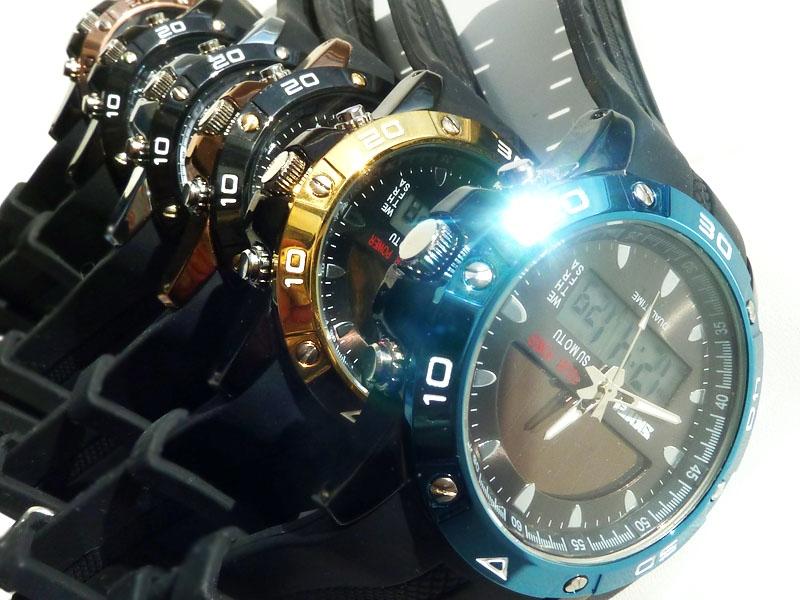 часы SKMEI solar 1064 чёрные/синие - 2