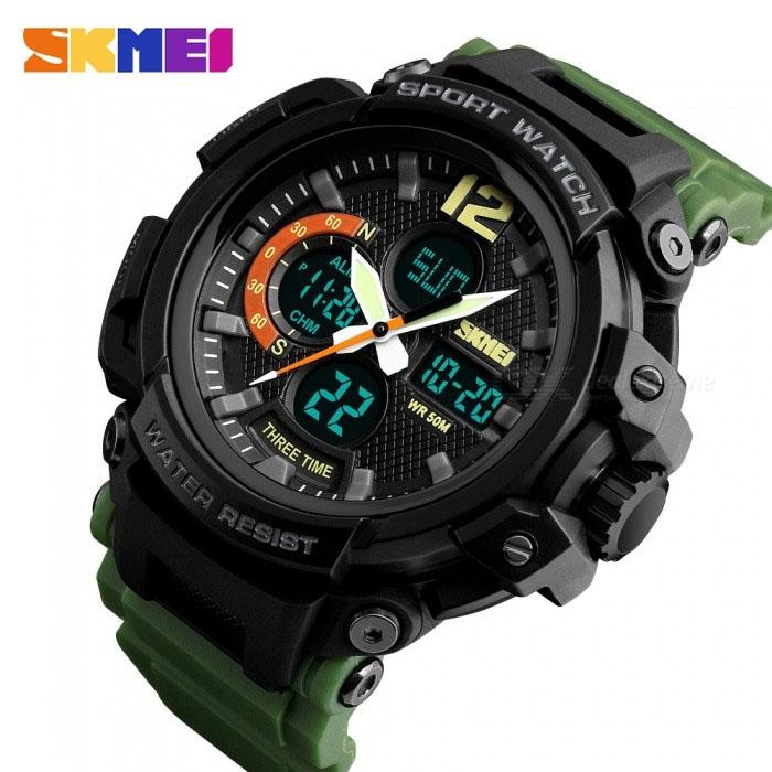 часы SKMEI 1343 чёрные, зелёный ремешок - 3