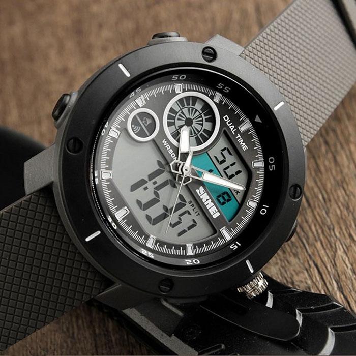 часы SKMEI 1361 чёрные, серый ремешок - 2