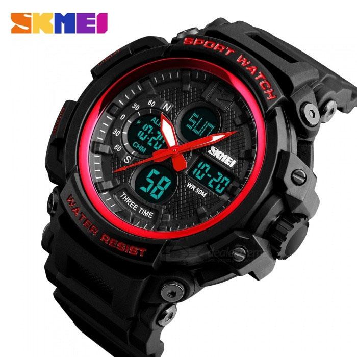часы SKMEI 1343 чёрные с синим, красный ремешок - 3