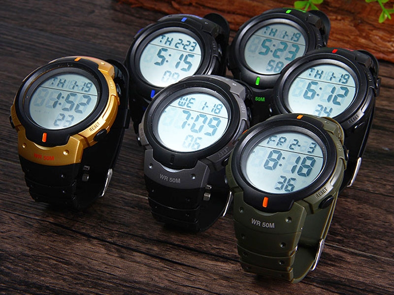 часы SKMEI 1068 чёрные с зелёным - 5