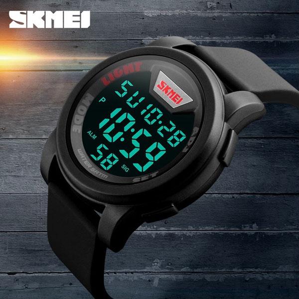 часы SKMEI 1218 Black Red (чёрные с красным) - 4