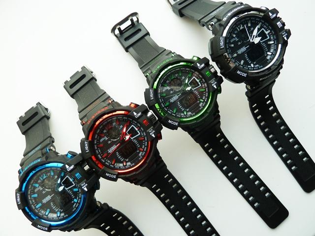 часы 1100 черные с зеленым металликом - 4