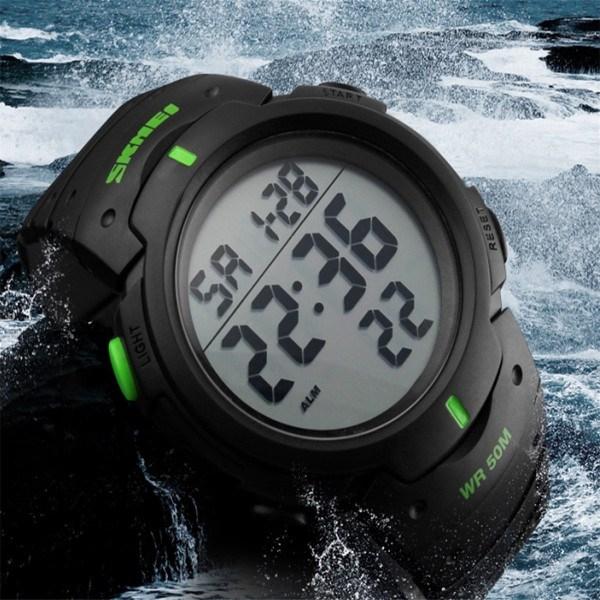 часы SKMEI 1068 чёрные с зелёным - 2
