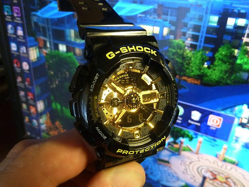 часы 110 ААА чёрные с золотом, глянцевый ремешок  - 1