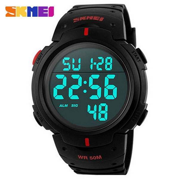 часы SKMEI 1068 чёрные с красным - 1