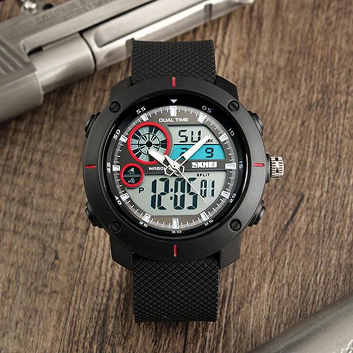 часы SKMEI 1361 чёрные с красным - 3