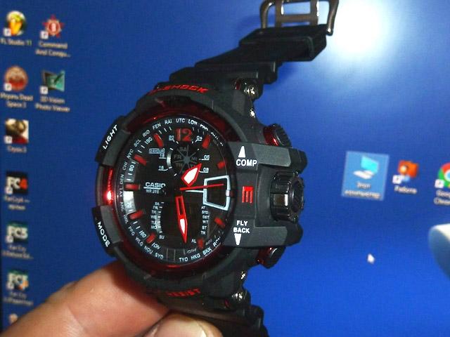 часы  1100 черные с красным металликом - 1
