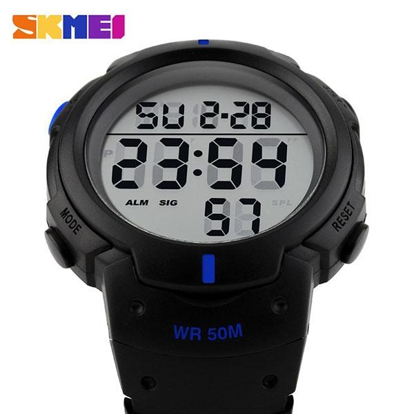 часы SKMEI 1068 чёрные с синим - 4
