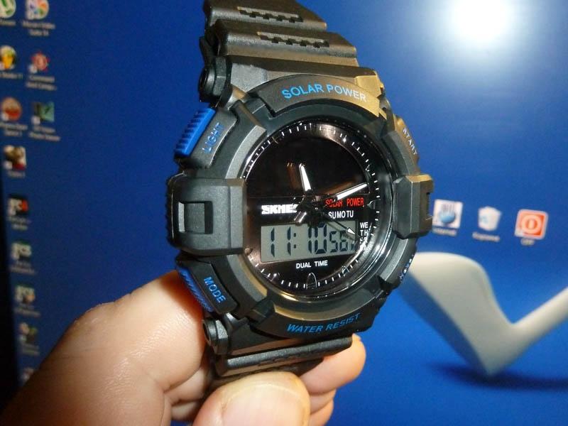 часы SKMEI solar 1050 чёрные с синим - 1