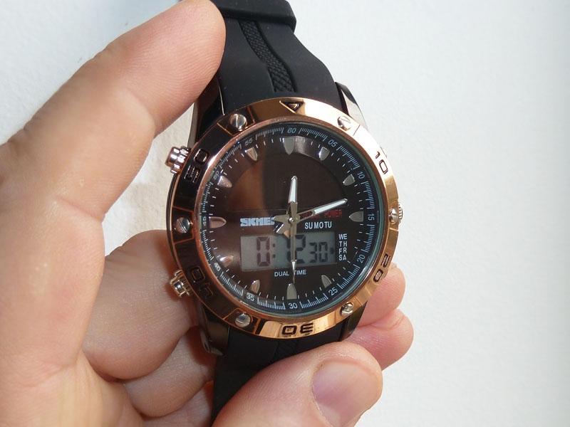 часы SKMEI solar 1064 чёрные/бронза - 1