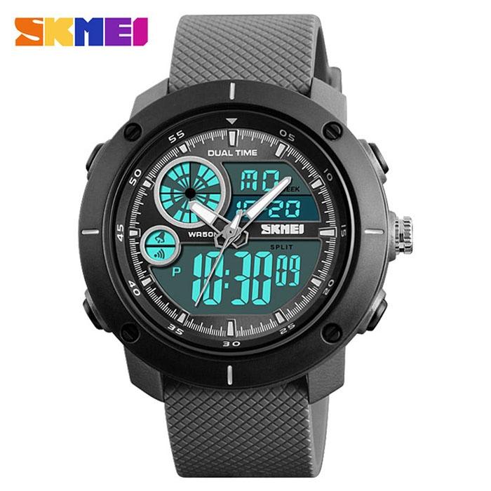 часы SKMEI 1361 чёрные, серый ремешок - 1