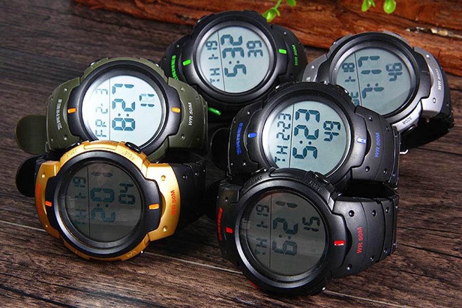часы SKMEI 1068 чёрные с зелёным - 4