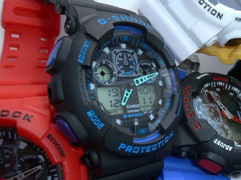 часы  100 черные с синим шрифтом - 1