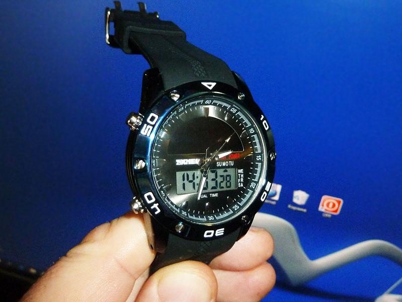 часы SKMEI solar 1064 чёрные/синие - 1