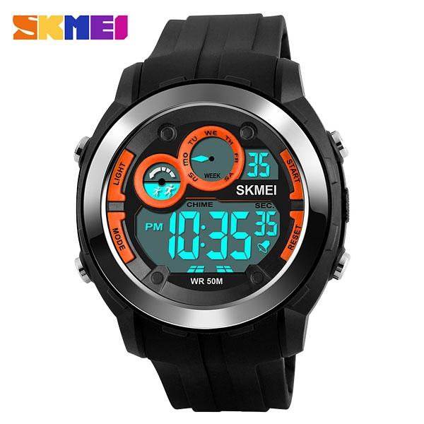 часы SKMEI 1234 Black Orange (чёрные с оранжевым) - 1