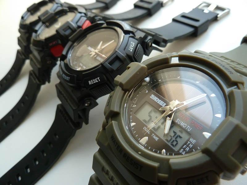 часы SKMEI solar 1050 чёрные с синим - 3